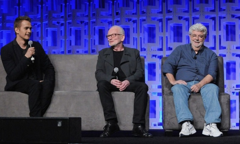 April 13: Hayden Christensen joined Ian McDiarmid and George Lucas for the 40 Years of Star Wars panel during the 2017 Star Wars Celebration at Orange County Convention Center in Orlando.