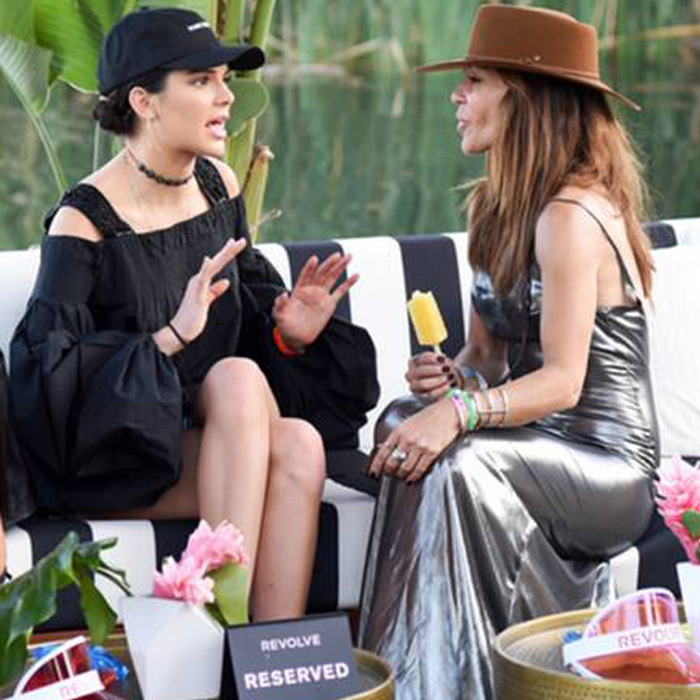April 16: Kendall Jenner and Robin Antin caught up during the Revolve Festival which kept guests hydrated with Moet & Chandon and stayed cool with Bai pops at the Merv Griffin Estate in Palm Springs, California.