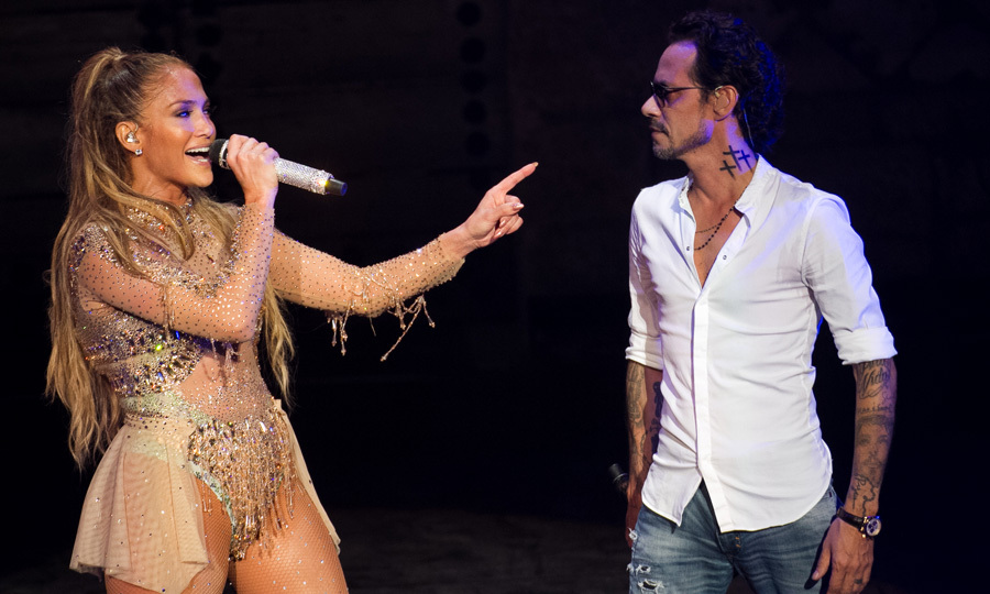 April 15: Jennifer Lopez had her ex-husband Marc Anthony join her on stage during her first ever concert in the Dominican Republic. The <i>Booty</i> singer performed for the crowd including new boyfriend Alex Rodriguez at the Altos de Chavón Amphitheater stage at Casa de Campo Resort & Villas.