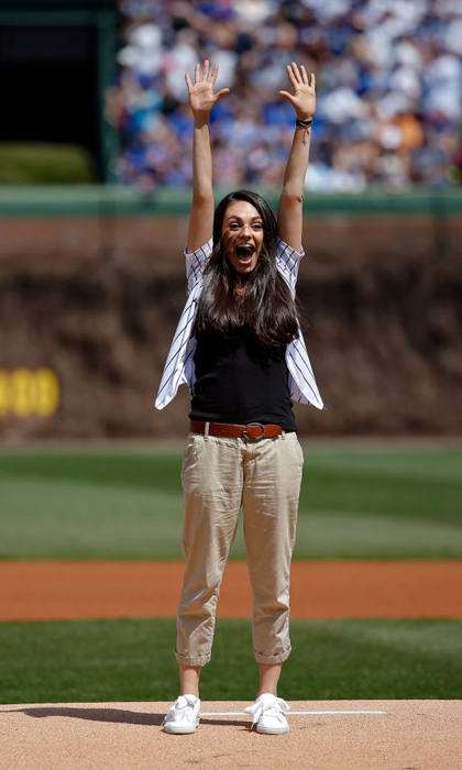 April 15: Success! Mila Kunis couldn't contain her enthusiasm after she threw out the first pitch at the Chicago Cubs vs. the Pittsburgh Pirates at Wrigley Field.