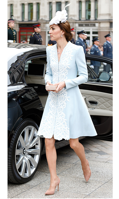 Catherine, Duchess of Cambridge chose a pale blue lace embroidered design for a national service of thanksgiving to mark Queen Elizabeth II's 90th birthday at St Paul's Cathedral on June 10, 2016 in London.