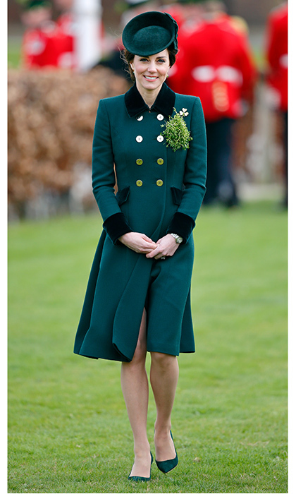 The Duchess wore this military-inspired Catherine Walker & Co look for St Patrick's Day 2017.