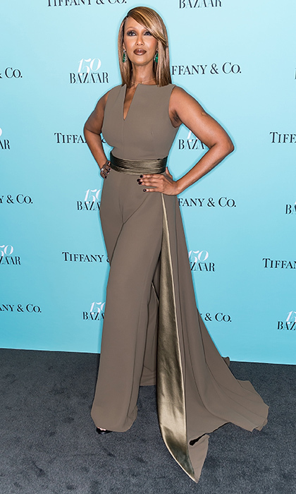 April 19: Supermodel Iman was chic in Brandon Maxwell for the Harper's BAZAAR 150th Anniversary Event party with Tiffany & Co in New York City.