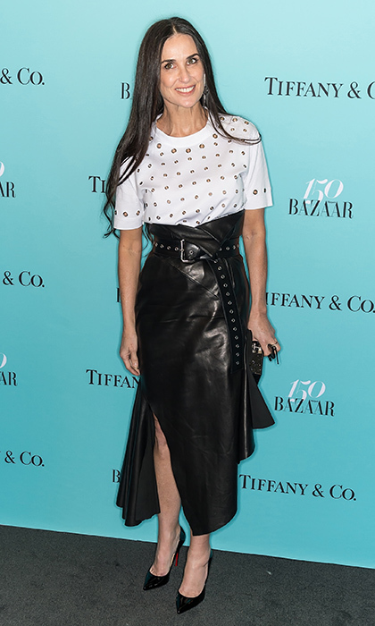 April 19: Demi Moore proved black leather is a look for all seasons in Monse at the Harper's BAZAAR 150th Anniversary party presented with Tiffany & Co in New York City.