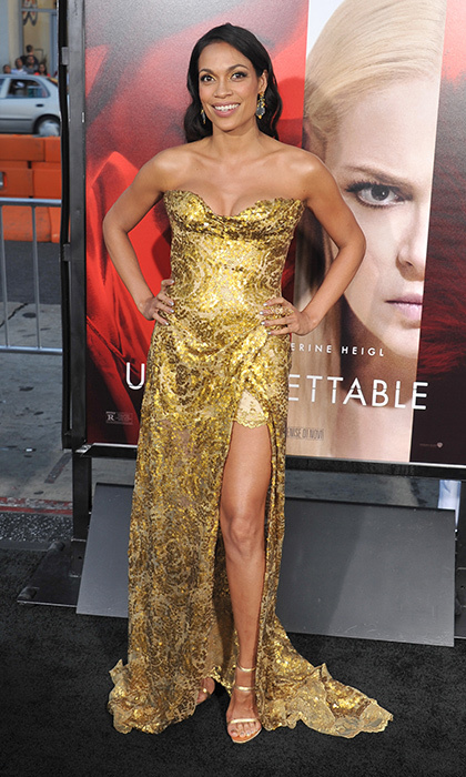 April 18: Rosario Dawson and her gilded Vivienne Westwood gown brought some gold standard glam to the premiere of Warner Bros. Pictures' <i>Unforgettable</i> at TCL Chinese Theatre in Hollywood.