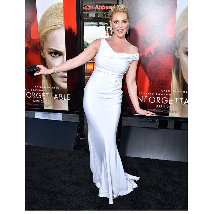 April 18: Returning to the spotlight after the birth of her son, new mom Katherine Heigl went for chic and simple in a gown by Blumarine at the Los Angeles premiere of <i>Unforgettable</i> in Hollywood.