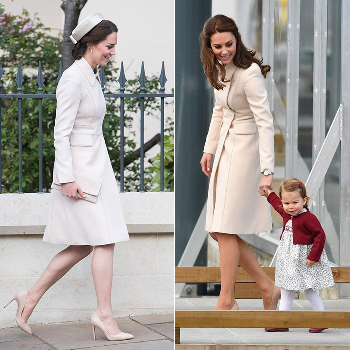 The Duchess showed the versatility of this Catherine Walker & Co design. In October 2016 she wore the coat with her hair down and simple pearl earrings as a royal mom on duty, guiding Princess Charlotte by the hand as they departed Canada after their family tour. 