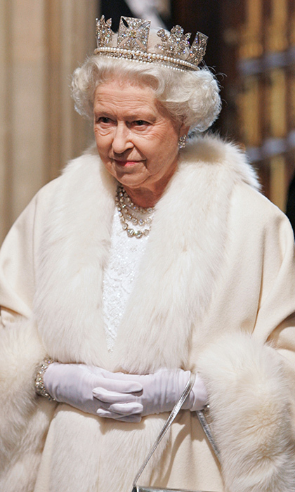 Nothing beats Queen Elizabeth's major tiara moments – here the elegant monarch donned the  Diamond Diadem made by Rundell, Bridge & Rundell for the State Opening of Parliament at the House of Lords on November 6, 2007 in London.