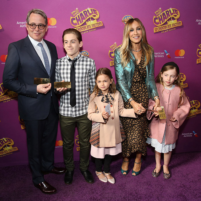 Matthew Broderick and Sarah Jessica Parker's adorable family made their red carpet debut for the Broadway opening 'Charlie and the Chocolate Factory' at the Lunt-Fontanne Theatre on April 23, 2017 in New York City. Standing next to his dad is a very grown up and dapper James Wilkie Broderick, 14, and his equally stylish little sisters, seven-year-old twins Marion and Tabitha. 