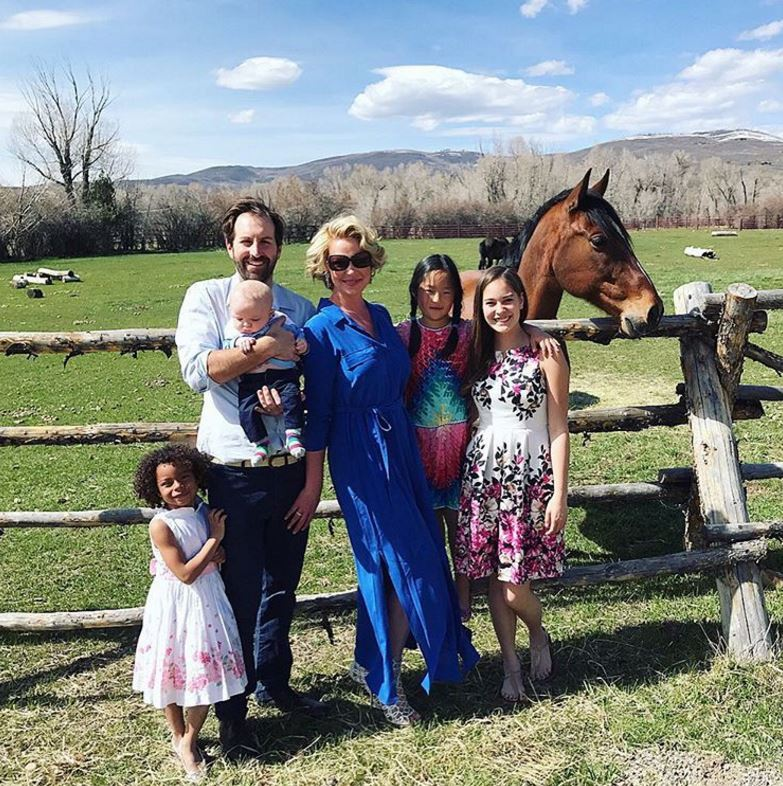 Katherine and Josh's family portrait on Easter wouldn't be complete without their horse Bellaco. 
