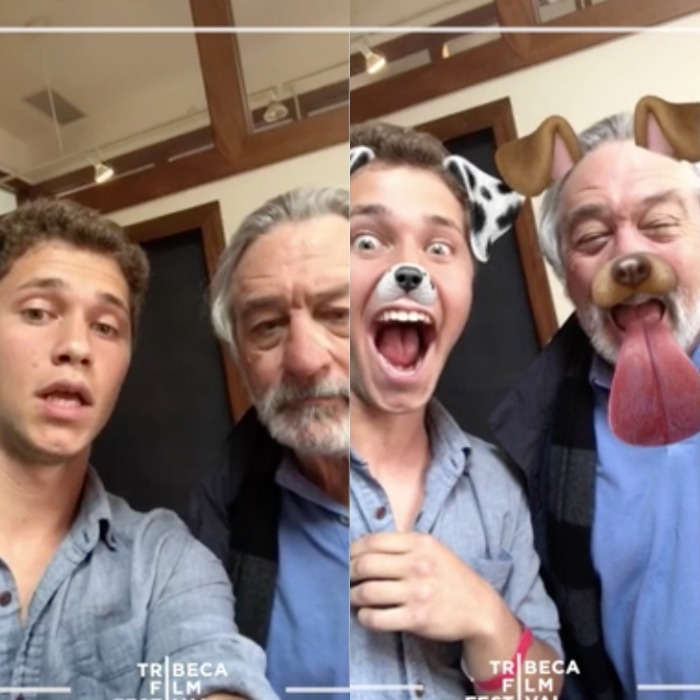 Robert De Niro made his Snapchat debut (filters and all) with Alex Berry, a finalist in Tribeca Snapchat Shorts. 