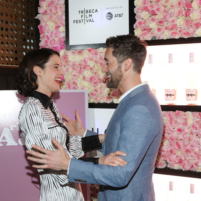 Ryan Eggold literally couldn't contain his laughter as he chatted with Cobie Smulders at the <i>Literally, Right Before Aaron</i> after-party sponsored by Chloe Wine Collection and Rizk Pictures at Fine & Rare.