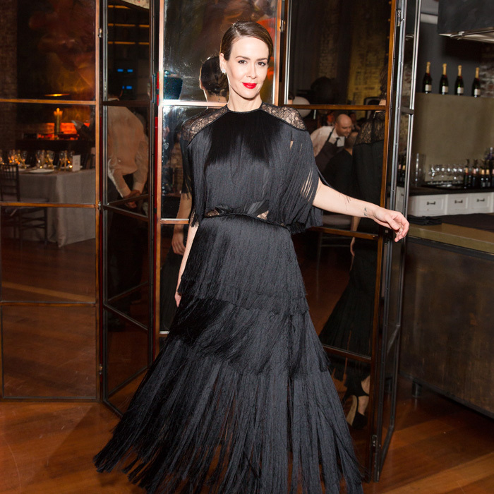 "Sarah Paulson couldn't resist twirling around in her black fringe dress during the Moët Moment Film Festival, aka ""The Minis"" dinner at McIntosh Townhouse in NYC.
