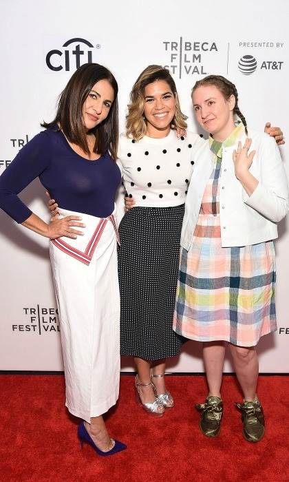 Girls' Night Out! Lena Dunham, Jenni Konner and America Ferrera had some fun on the carpet during a Tribeca talks event.