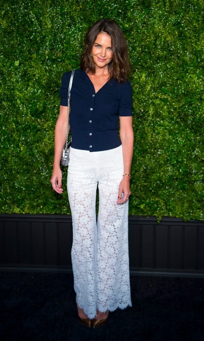 Katie Holmes got into the spirit of spring during the Tribeca Chanel Artists dinner at Balthazar.