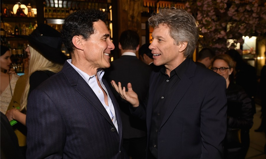 Andre Balazs and Bon Jovi chatted it up during the CHANEL Tribeca Film Festival Artists Dinner at Balthazar.