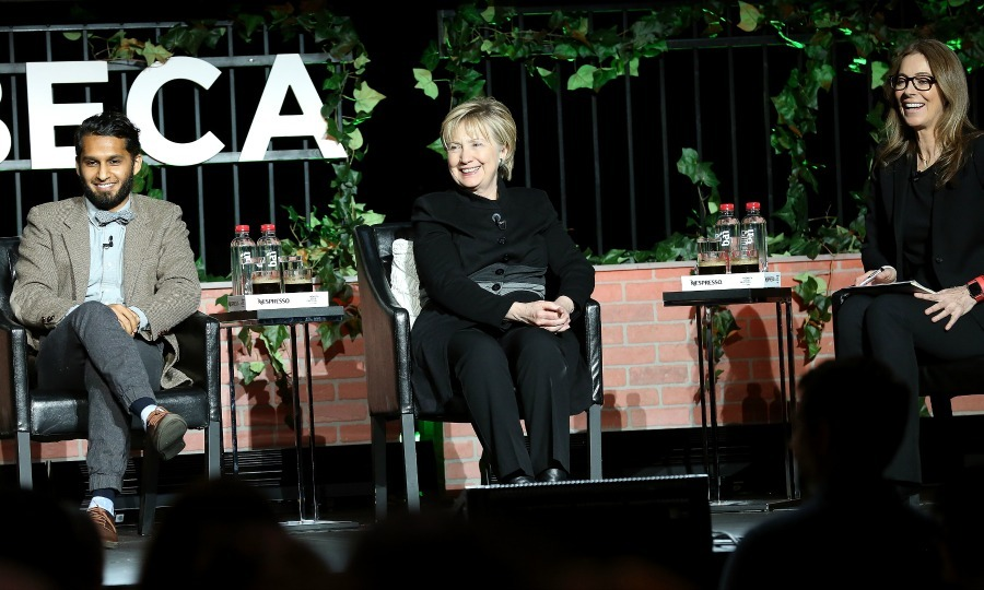 Hillary Clinton surprised fans during her appearance at the Tribeca Talks: Kathryn Bigelow and Imraan Ismail event.