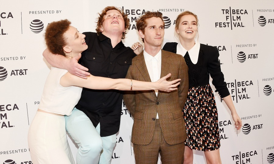 Maya Eshet, Joey Morgan, Max Winkler and Zoey Deutch had some fun on the carpet for the premiere of <i>Flower</i>.