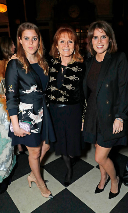 Princess Beatrice paired her Zara satin blazer with a black dress and blush heels for a night with mom Sarah Ferguson and sister Princess Eugenie at the launch of The Ned.