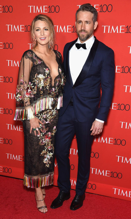 April 25: Blake Lively stunned in Marchesa alongside honoree and husband Ryan Reynolds at the TIME 100 Gala in NYC.