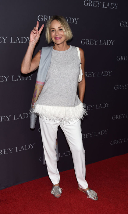 April 26: Sharon Stone was a lady in grey at her premiere of <i>Grey Lady</i> at The Landmark in L.A.