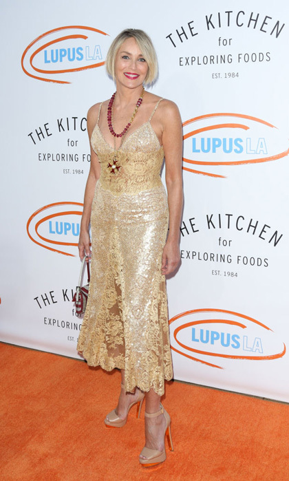 April 22: Sharon Stone was golden head to toe at the Lupus LA's 2017 Orange Ball: Rocket To A Cure at The California Science Center.