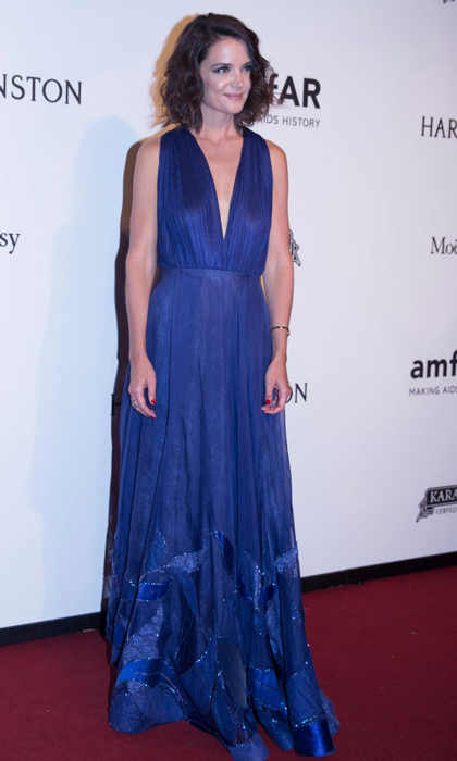 April 27: Katie Holmes wore a plunging Fabiano Milazzo gown for the amfAR Gala in São Paulo, Brazil. 
