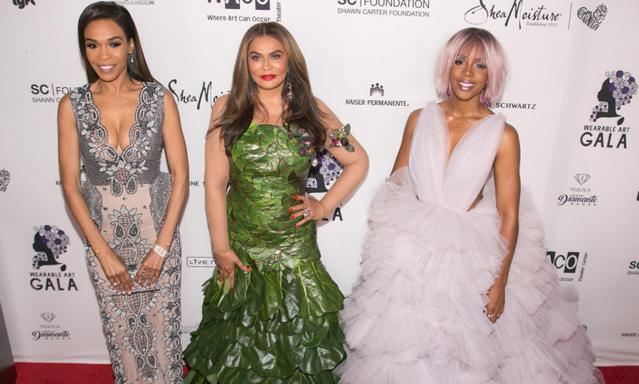 April 29: Michelle Williams, Tina Lawson and Kelly Rowland were a stylish trio at the Wearable Art Gala at the California African American Museum in L.A. 