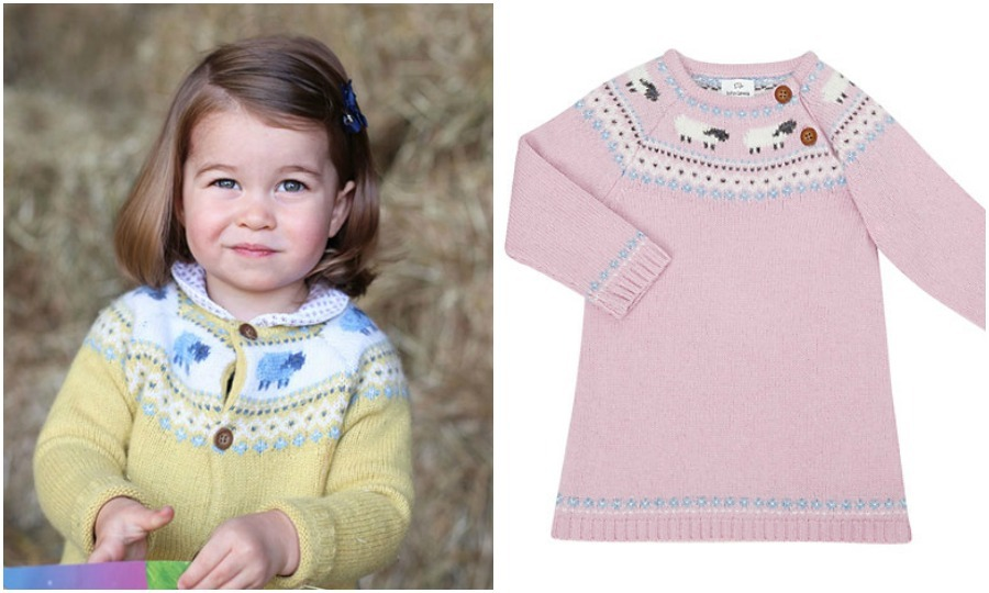 For her second birthday portrait released on May 1, 2017, Kate Middleton's daughter wore a yellow and blue Fair Isle knit cardigan from John Lewis. And in true royal fashion, the sweater quickly sold out. The dress version sold for $25.