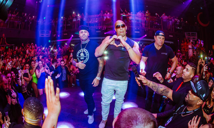 April 27: Vin Diesel showed the love for his friend Nicky Jam as the duo took the stage at E11EVEN in Miami after the Latin Billboard Awards. 