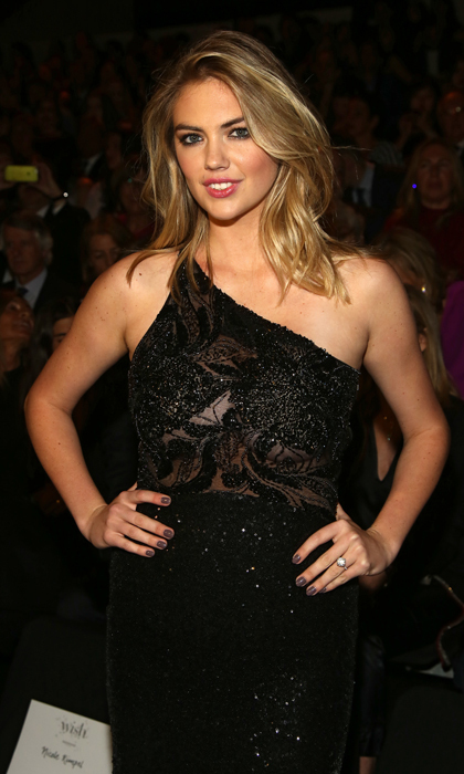 April 28: Kate Upton showed off her engagement ring front row at the Atelier Pronovias 2018 show in Barcelona.