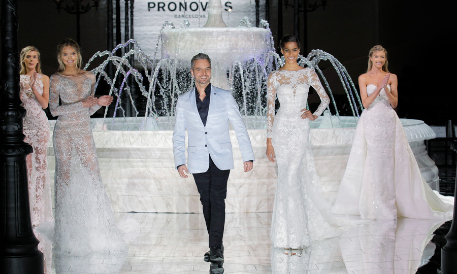 April 28: Bregje Heinen, Romee Strijd, Cindy Bruna and Martha Hunt modeled the Atelier Pronovias collection along with designer Hervé Moreau at the show in Barcelona.
