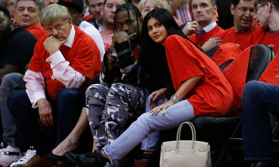 April 25: Kylie Jenner joined Travis Scott courtside in Houston for the Rockets NBA playoff game against the Oklahoma City Thunder.