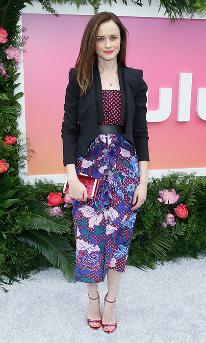 <I>The Handmaid's Tale</I>'s Alexis Bledel went for Saloni's mixed motifs at 2017 Hulu Upfront in New York City. 