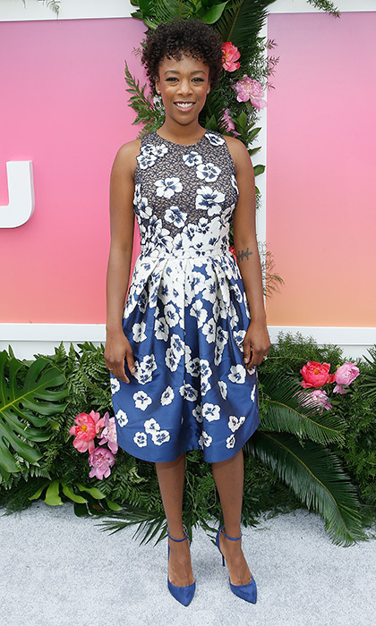 <I>The Handmaid's Tale</I>'s Samira Wiley donned a floral Carmen Marc Valvo day dress to 2017 Hulu Upfront in New York City.