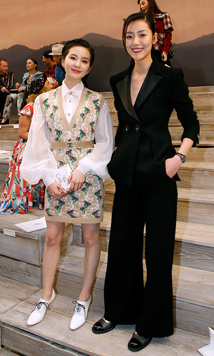 Liu Shishi, left, and Liu Wen hit the front row of the Chanel Cruise 2017/2018 Collection Show at Grand Palais in Paris, France.