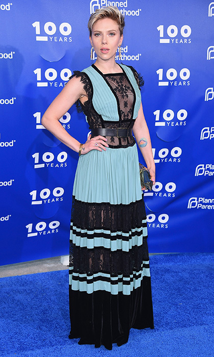 Scarlett Johansson, in lace and velvet Elie Saab, on the blue carpet at the Planned Parenthood 100th Anniversary Gala at Pier 36 in New York City. 