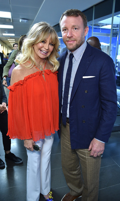 May 1: Goldie Hawn, along with Amy Schumer, ran into Guy Ritchie at SiriusXM studios for Town Hall special hosted by Andy Cohen.
