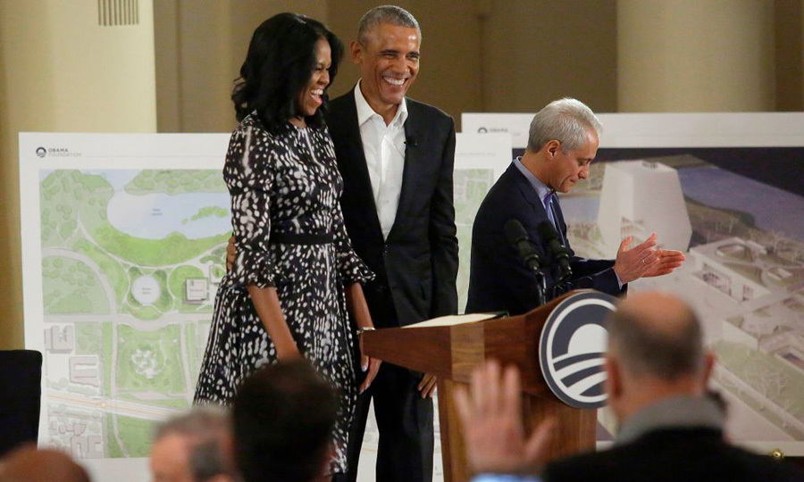 May 3: Former President Barack Obama and wife Michelle, who accessorized with David Yurman jewels, were back in Chicago to discuss plans for the Obama Presidential Center during a community event at the South Shore Cultural Center.