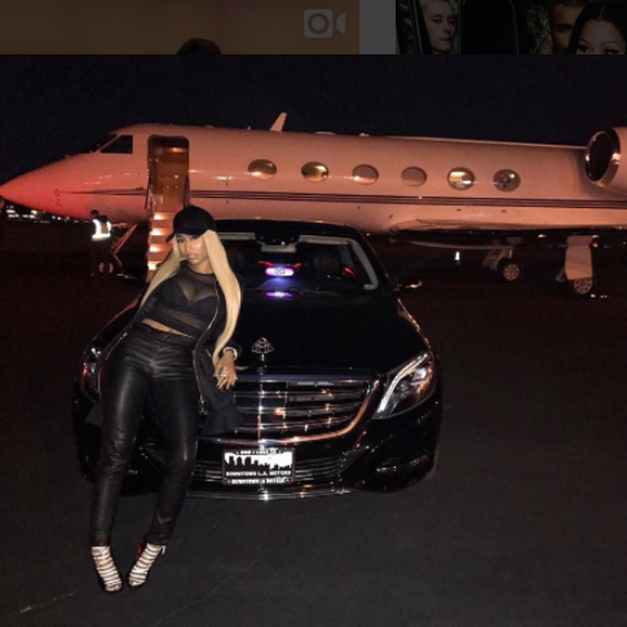 May 3: Nicki Minaj always knows how to travel in style and we don't just mean her outfit. The rapper used a complimentary Lyft ride to her private plane after her whirlwind trip in NYC.