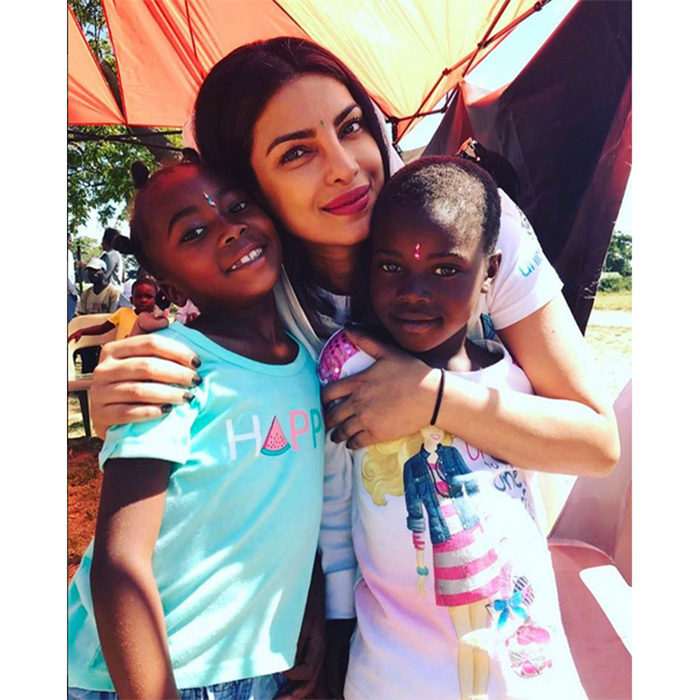 "May 4: <I>Quantico</I>'s Priyanka Chopra shared this sweet photo on her Instagram as she spoke of her UNICEF: ""Their stories of resilience are so inspiring.. thank u for sharing with me #EndViolence #thistimeforafrica #bindibonding @unicef.""