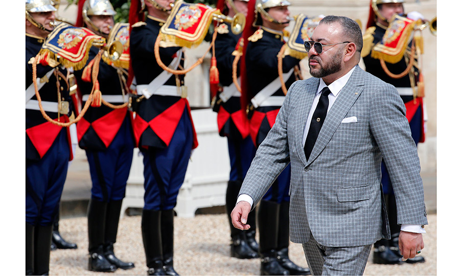 Moroccan King Mohammed VI had a greeting filled with pomp and circumstance as he arrived for a meeting with French President Francois Hollande at the Elysee Palace on May 2 in Paris.