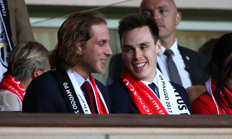 Princess Caroline's son Andrea Casiraghi, left, and Princess Stephanie's son Louis Ducruet did some royal cousin bonding at the AS Monaco soccer match at Louis II stadium on May 3. 
