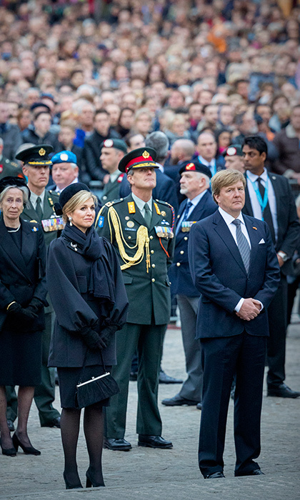A solemn King Willem-Alexander and Queen Maxima of the Netherlands attended the National Remembrance ceremony on Dam Square in Amsterdam on May 4. The annual memorial honors both Dutch civilians and military members who have died in wars or peacekeeping missions.
