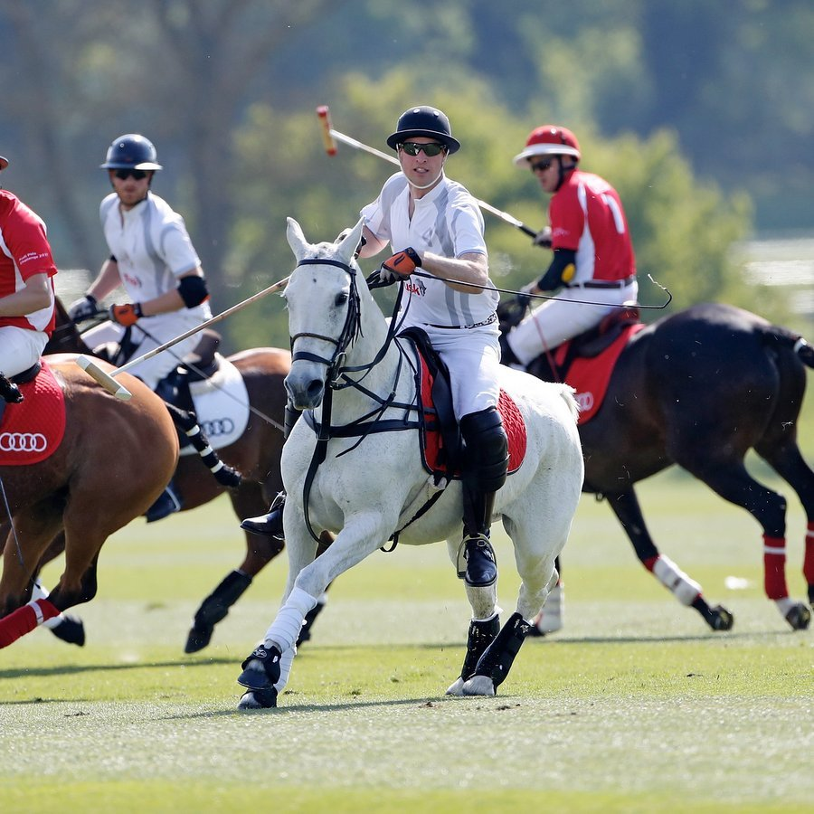 Prince William got into the action alongside brother and teammate Prince Harry on Day 2 of the Audi Polo Challenge at Coworth Park on May 7.
