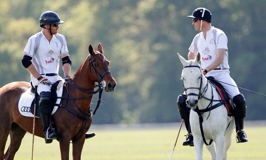 Prince William and Prince Harry shared a moment on the field during Day 2 of the Audi Polo Challenge at Coworth Park, Ascot, England, on May 7. 
