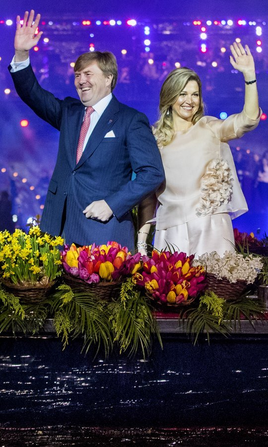 King Willem-Alexander and Queen Maxima of the Netherlands greeted the crowds with a wave at the annual Liberation Day concert on the Amstel on May 5, 2017 in Amsterdam.