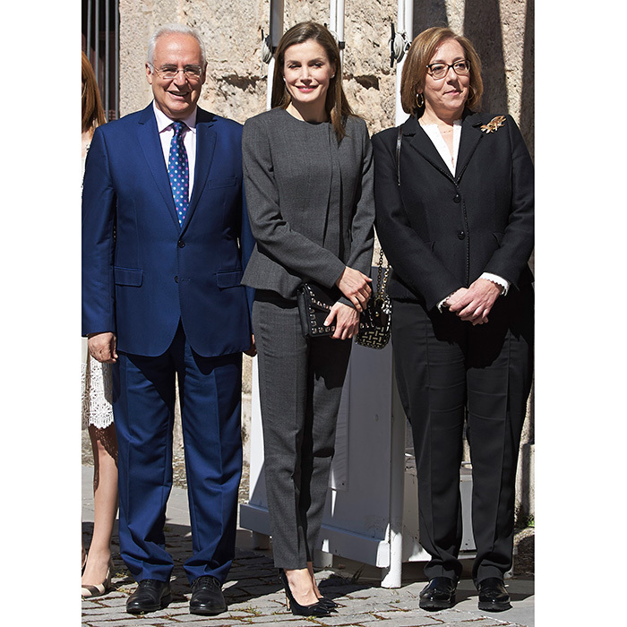 Queen Letizia of Spain was all business in a grey pantsuit at the inauguration of the 12th International Seminar of Language and Journalism  in San Millan de la Cogolla, Spain. 