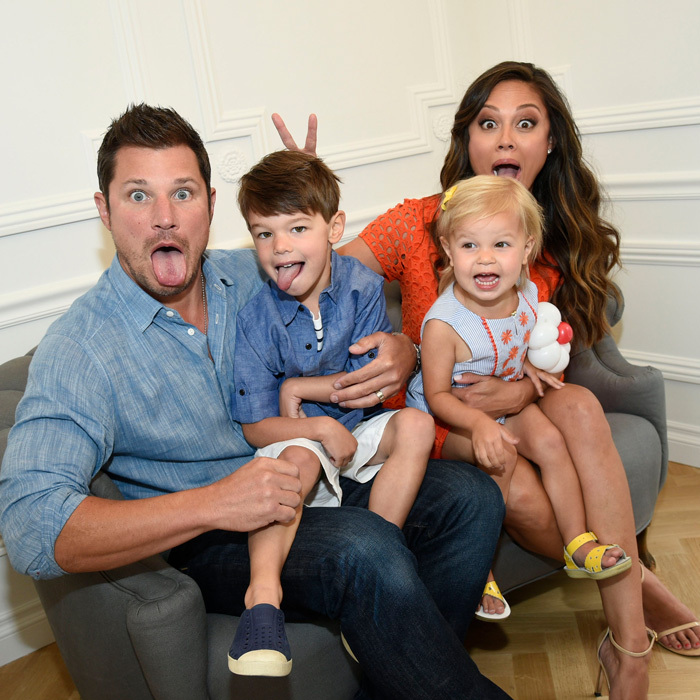 May 7: Sunday sillies! Nick and Vanessa Lachey had a fun day with their oldest kids Camden and Brooklyn, who wore J&J by Janie and Jack, at the Janie and Jack Portrait Studio at The Grove in L.A.