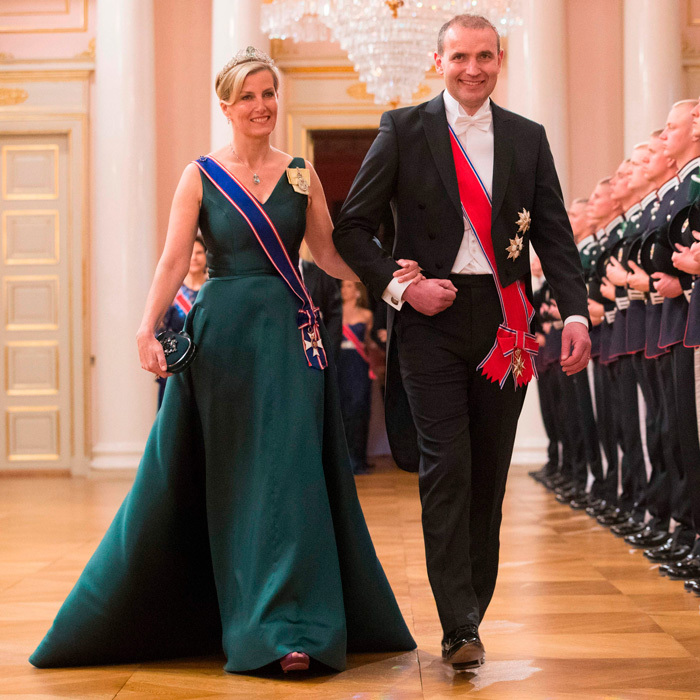 Sophie, Countess of Wessex wore a v-neck, emerald green gown to King Harald and Queen Sonja's birthday in Norway. Sophie went on behalf of the British royal family as Queen Elizabeth wasn't able to make it.